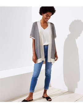 Petite Striped Dolman Open Cardigan by Loft