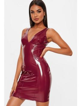 Burgundy Vinyl V Front Bodycon by Missguided