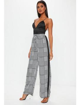 Black Dog Tooth  Wide Leg Pants by Missguided