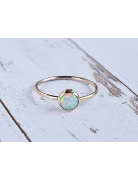 Rose Gold Opal Ring   Rose Gold Filled Stacking Ring   Multicolour Fire Opal   Alternative Engagement   October Birthstone by The Ivy Bee Handmade