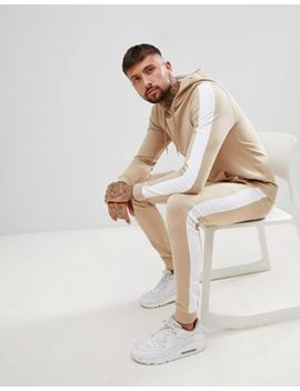 Asos Design Tracksuit Muscle Hoodie/Super Skinny Joggers With Side Stripes by Asos Design