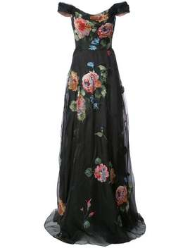 Floral Embroidered Off The Shoulder Gown by Marchesa Notte