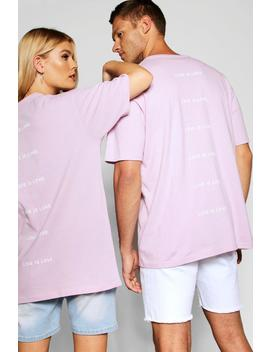 "Pride """"""""Love Is"""""""" Back Print Loose Fit T Shirt by Boohoo"
