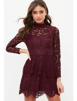 Tall Burgundy Lace Double Layer Dress by Missguided