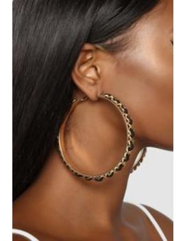 Time For A Chain Earrings   Black/Gold by Fashion Nova