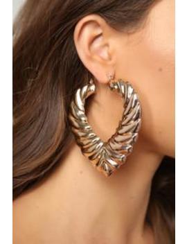 Rain Drop Tear Drop Hoop Earrings   Gold by Fashion Nova
