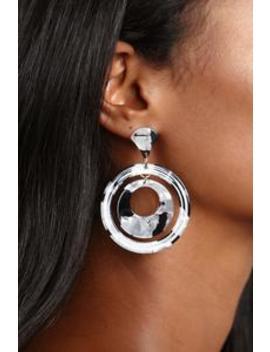 Circular Motion Earrings   Black/White by Fashion Nova