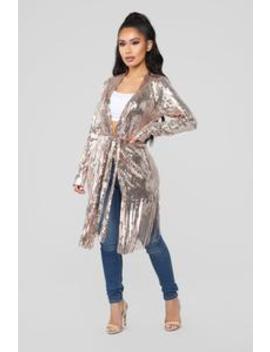 Sequin Fringe Party Jacket   Rose Gold by Fashion Nova