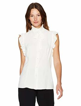 Anne Klein Women's Sleeveless Ruffle Bow Blouse by Anne+Klein