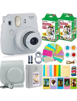 Fujifilm Instax Mini 9 Instant Camera + Fuji Instax Film (40 Sheets) + Accessories Bundle   Carrying Case, Color Filters, Photo Album, Stickers, Selfie Lens + More (Smokey White) by Deals Number One