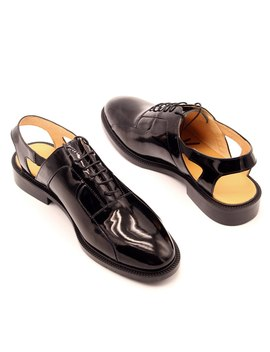 Retro Style Black Oxfords Handmade Mens Formal Business Shoes Slingback Dress Shoe Honbre by Ch.Kwok
