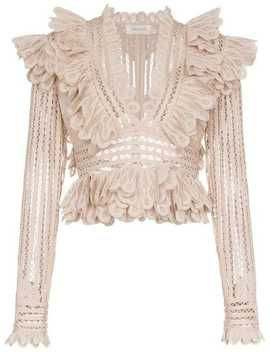 Battenberg Cropped Silk Blend Lace Top by Zimmermann