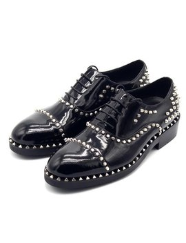 Black Lace Up Handmade Oxford Men Round Toe Genuine Leather  Bright Rivet Pearl Dress Shoes Office Party Shoes by Ch.Kwok