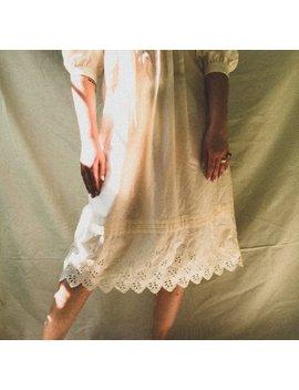 Vintage 1970s Eyelet Hem Midi Prairie Dress by Holaaida