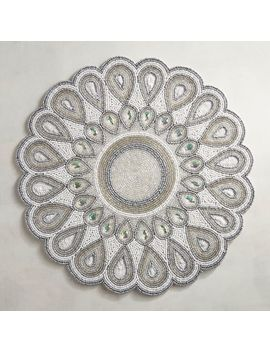 White Shimmer Beaded Placemat by Pier1 Imports