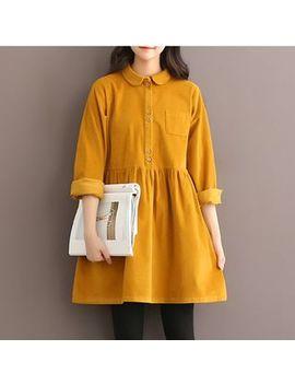 Long Sleeve Corduroy A Line Dress by Epoch