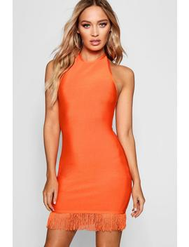Honest Bandage Tassel Hem Bodycon Dress by Boohoo