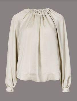Oversized Ruffle Neck Long Sleeve Blouse by Marks & Spencer