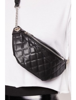 Teresa Black Quilted Chain Bumbag by Misspap