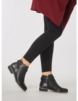 Black 'mayan' Faux Croc  Ankle Boots by Dorothy Perkins