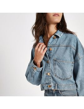 Blue Button Back Cropped Denim Jacket by River Island