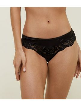 Black Satin Lace Trim Cut Out Brazilian Briefs by New Look