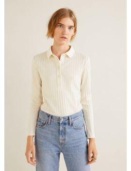 Geripptes T Shirt Aus Baumwolle by Mango