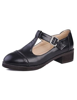 Idifu Women's Dressy Chunky Heel T Strap Buckle Low Cut Oxfords Sandals by Idifu