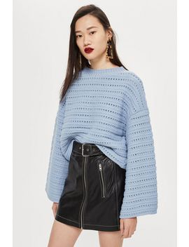 Cropped Wide Sleeve Jumper by Topshop