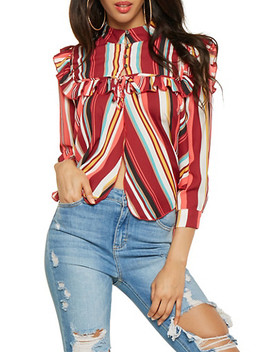 Striped Half Button Blouse by Rainbow