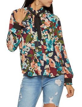 Printed Tie Neck Blouse by Rainbow