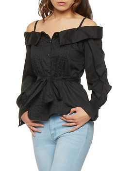 Pleated Off The Shoulder Button Front Top by Rainbow