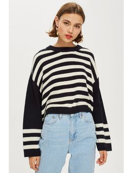 Ottoman Stripe Cropped Jumper by Topshop
