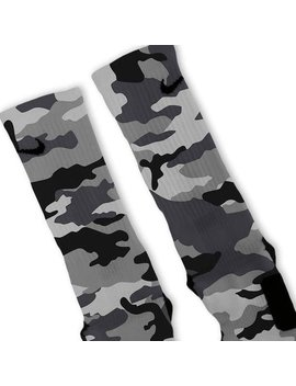 Custom Combat Grey Snow Camo Nike Elites Socks by Galaxy Elites