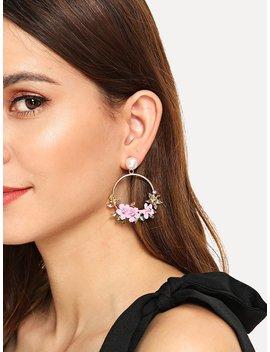 Flower Decorated Hoop Drop Earrings by Romwe