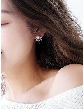 Hollow Design Rhinestone Stud Earrings by Romwe