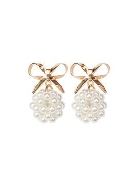 Faux Pearl & Bow Drop Stud Earrings by Romwe