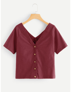 V Neck Single Breasted Blouse by Sheinside
