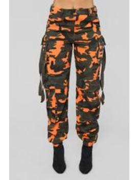 Neomie Cargo Joggers   Orange by Fashion Nova