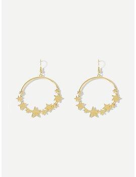Metal Star Decorated Hoop Earrings by Romwe