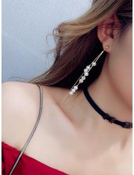 Faux Pearl Decorated Long Drop Earrings by Romwe