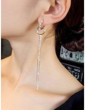 Rhinestone Tassel Drop Earrings by Romwe
