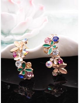 Butterfly & Rhinestone Design Stud Earrings by Romwe