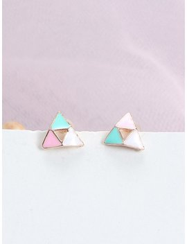Patchwork Triangle Stud Earrings by Romwe