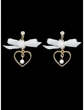White Bowknot Heart Shape Earrings by Romwe