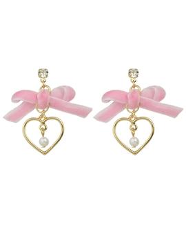 Pink Bowknot Heart Shape Earrings by Romwe