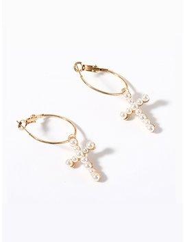 Faux Pearl Cross Hoop Earrings by Romwe