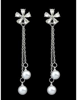 Flower Pearl Tassel Earrings by Romwe