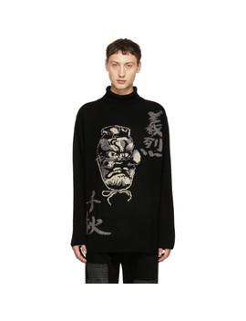 Black Intarsia Hannya Turtleneck by Yohji Yamamoto