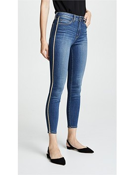 High Rise Skinny Jeans With Metallic Trim by L'agence